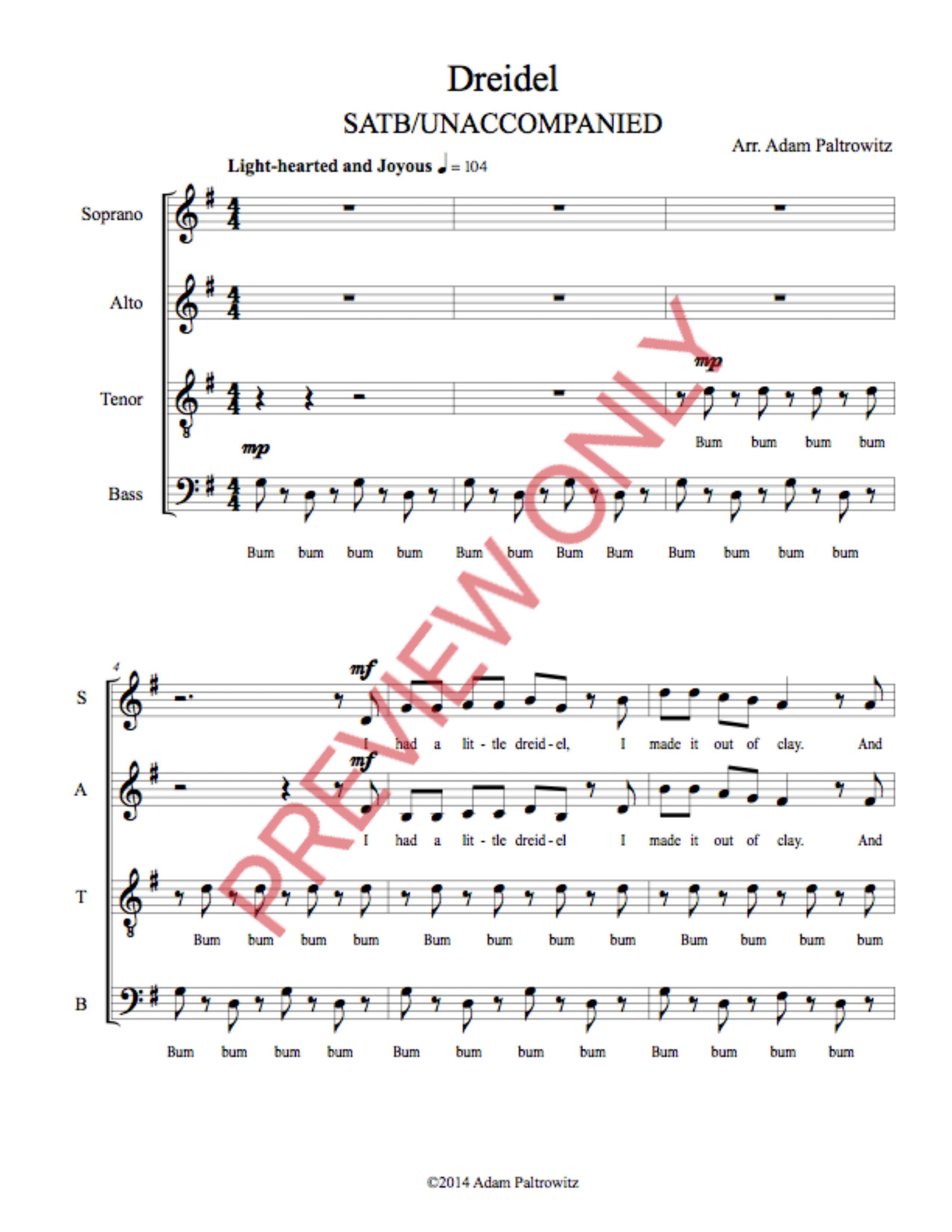 Dreidel Satb Caroling Version Choral Clarity